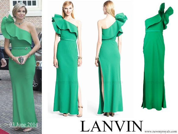Queen Maxima wore Lanvin One-shoulder Ruffled Crepe gown