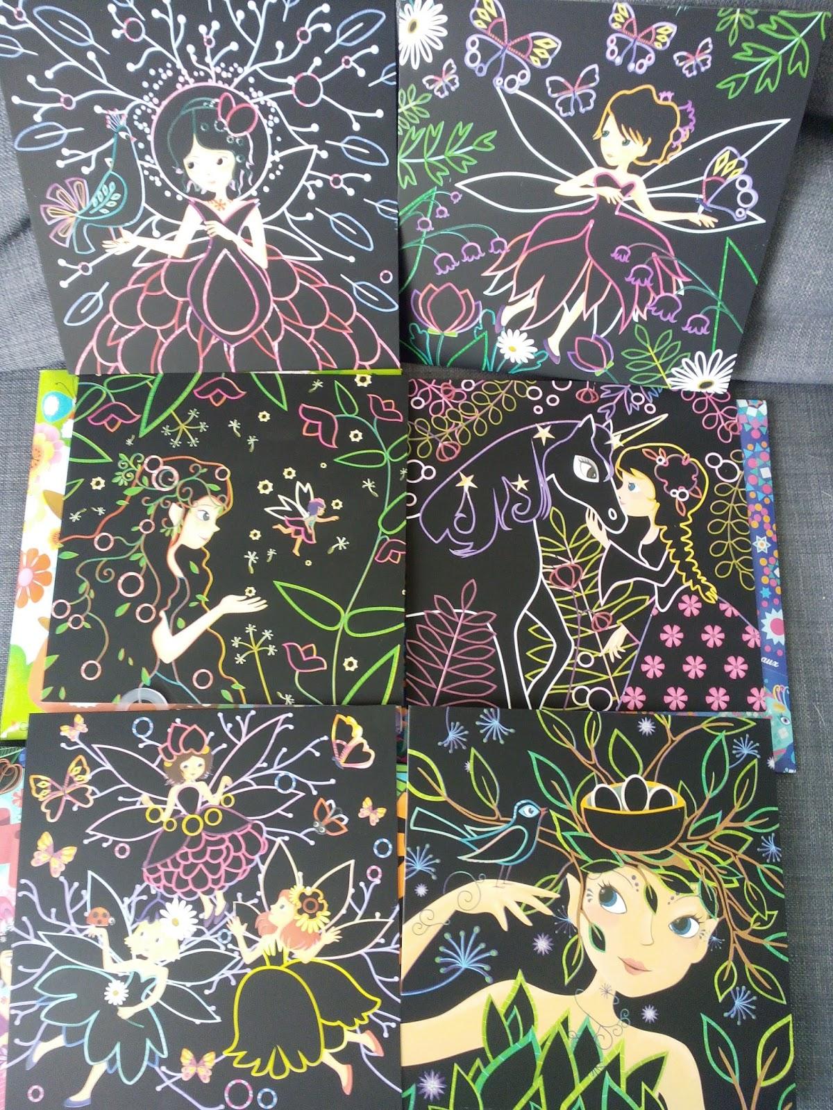 Nouveautés Février 2016 Loisirs créatifs chez Gründ Cartes  gratter Coloriages velours Stickers en feutrine Tableaux scintillants