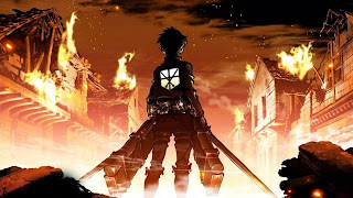 Tapeta HD z serialu Shingeki no Kyojin przedstawiającą Erena patrzącego na palące się miasto
