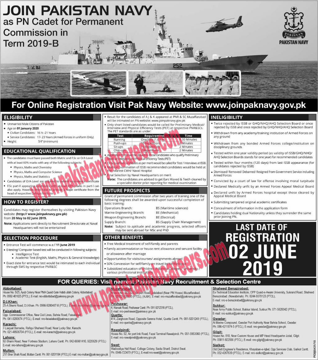 Join Pakistan Navy as PN Cadet 2019 May Online Registration for Permanent Commission in Term 2019-B Latest