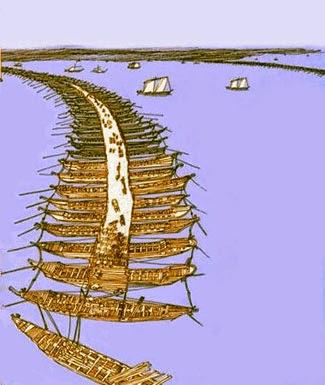Mandrokles'un Boğaz Köprüsünün Tasviri
