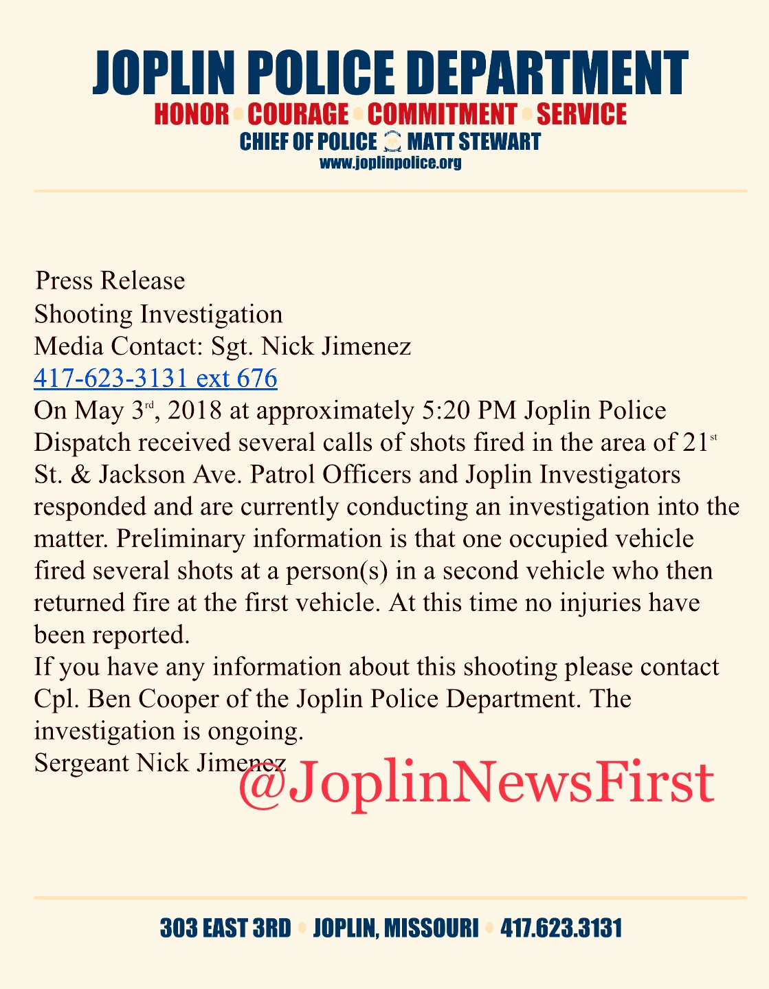 Joplin News First: PRESS RELEASE SHOOTING INVESTIGATION: 21st AND S ...