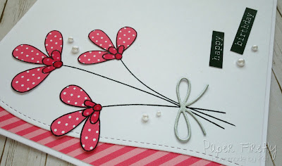 Pink flowers in modern style, using MFT Build-able bouquet stamps and dies
