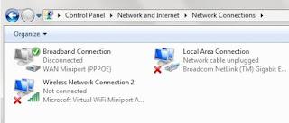 LAN rusak atau tidak berfungsi ditandai dengan silang merah
