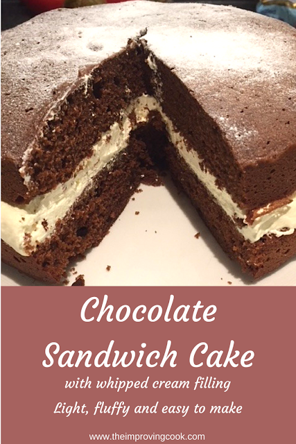 Chocolate Sandwich Cake with whipped cream filling with text overlay