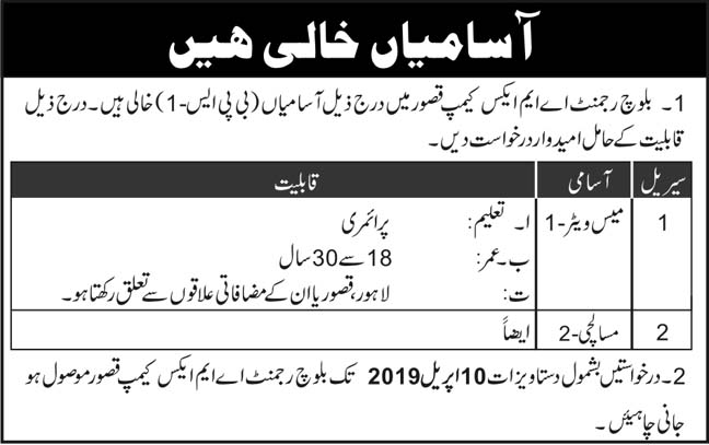 Jobs In Baloch Regiment AMC Camp Kasur April 2019