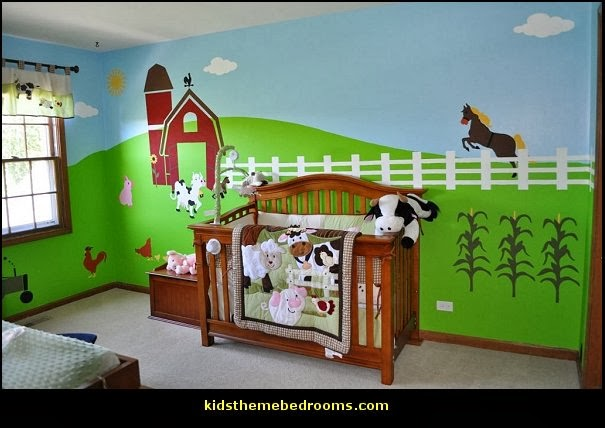 Farm theme bedroom decorating ideas - horse theme bedroom decorating ideas - girls horse theme bedrooms - farm animals decor - Country themed bedroom - John Deere decor - John Deere bed - John Deere wall decals - Barnyard Bedroom Theme - Farm themed wall decals - farm animals kids wall decor - tractor beds