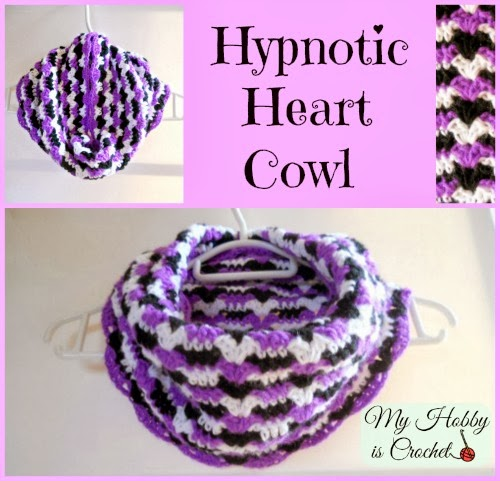 Hypnotic Heart Cowl - Free Crochet Pattern on myhobbyiscrochet.com