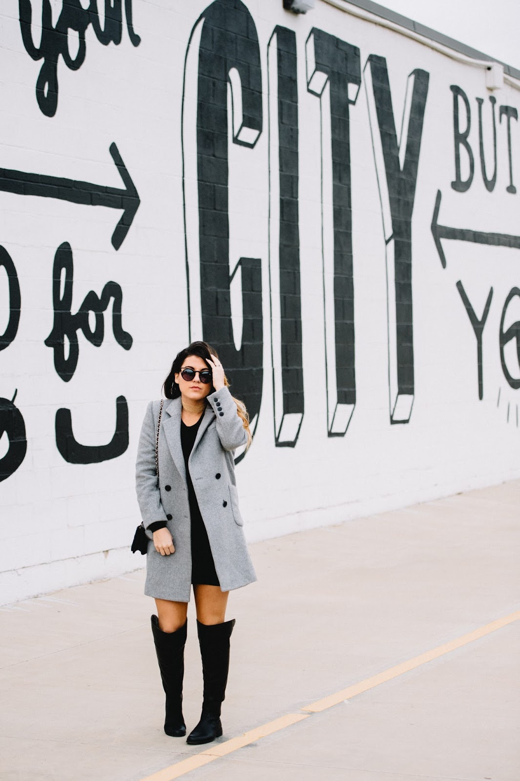 Dezzal Grey Wool Peacoat -- blogger @taylorwinkelmeyer