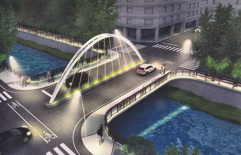 這是國賓大悅附近的橋,中間有小河,還有國賓大悅地址的規劃