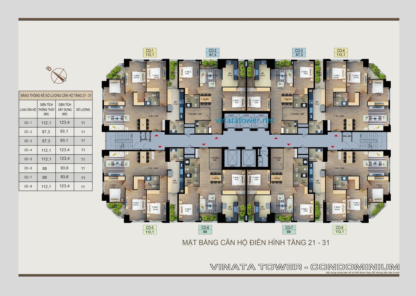 Mặt bằng căn hộ tầng 21 - 31 Vinata Towers