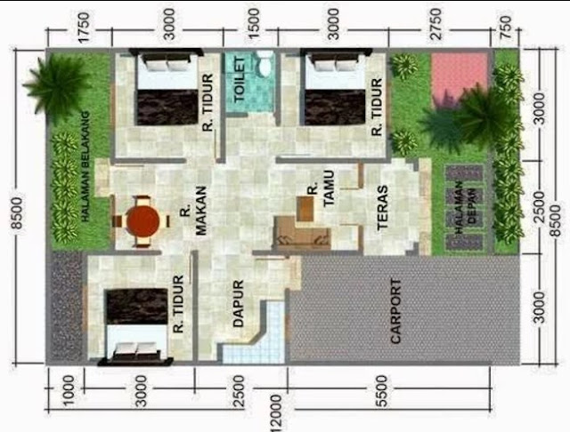 Denah Rumah Minimalis Idaman Sederhana Type 54