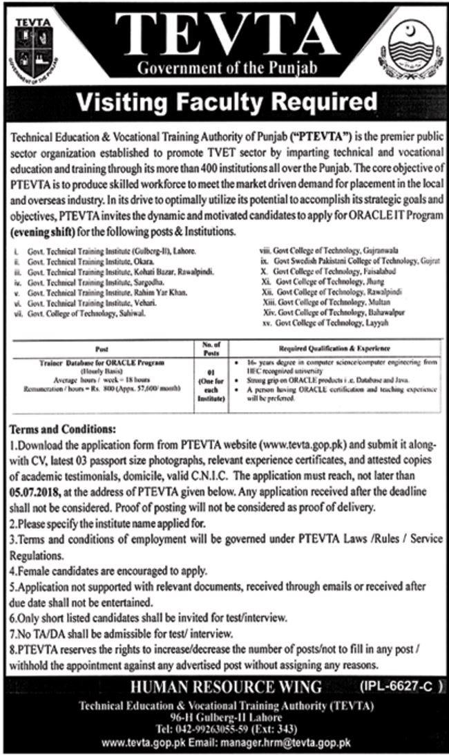 Jobs In TEVTA June 2018 Download Application form
