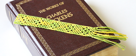 Torchon Bobbin Lae Bookmark on Hardcover Book