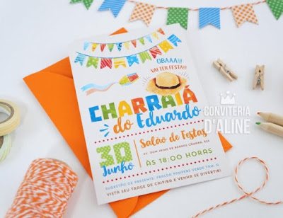 convite cha bebe festa junina