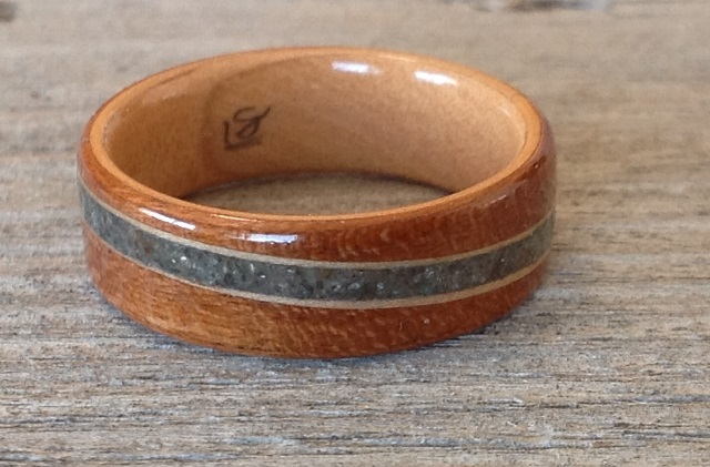 Cherry and Maple Wood Ring with spiraled inlay of Melody's Stone