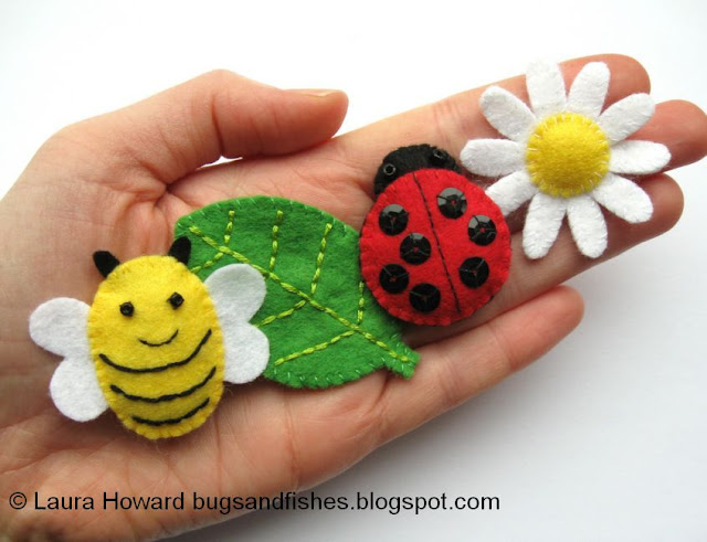 mini felt bumblebee leaf ladybird and daisy tutorials
