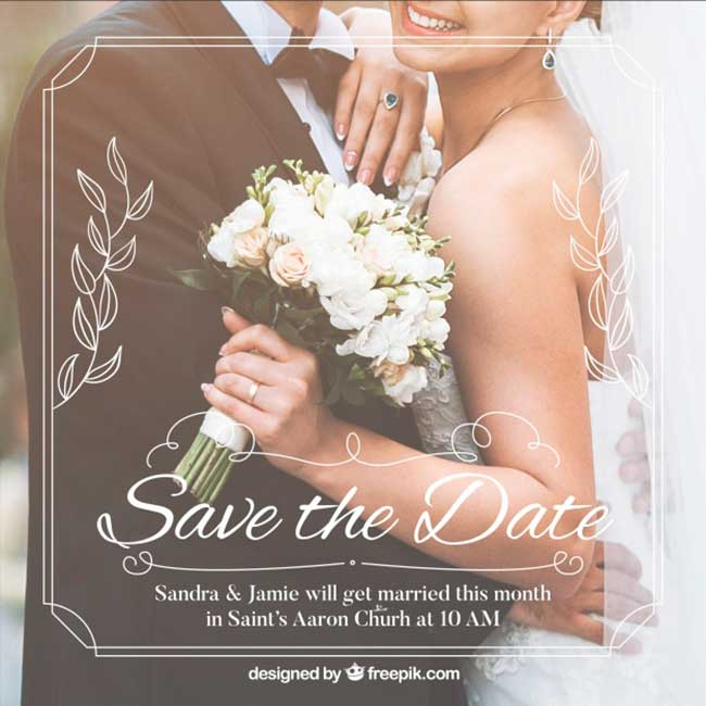 Romantic save the date invitation template download