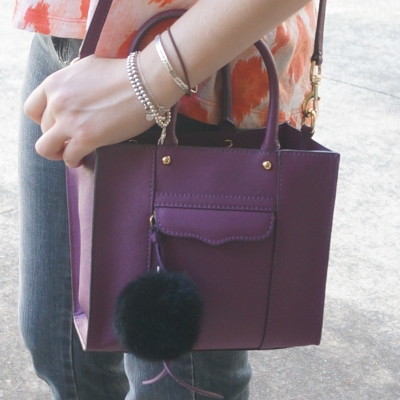 AwayFromTheBlue | Rebecca Minkoff mini MAB tote in plum faux fur pom pom bag charm
