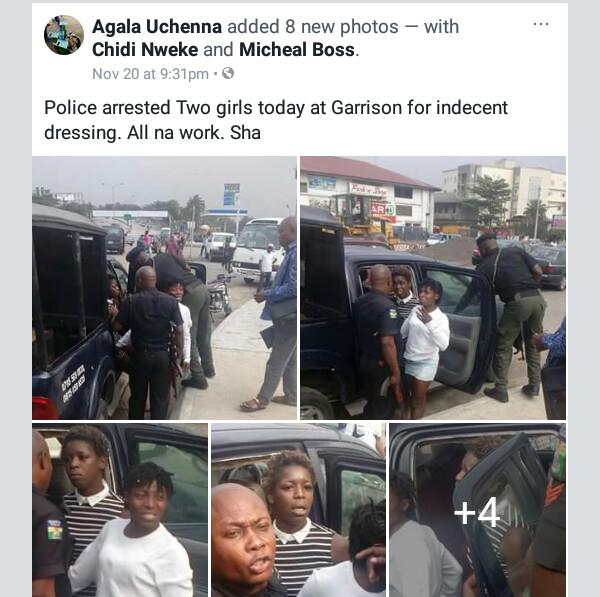 Photos: Enugu Police allegedly arrest two girls for indecent dressing