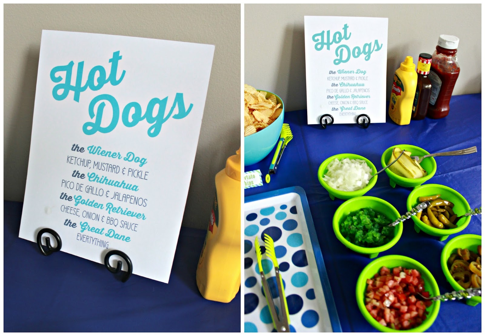 Hot Dog Bar for kid's puppy party