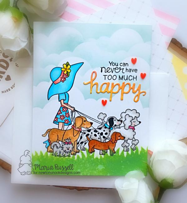 Happy Dog Walker Card by Maria Russell | Walking Woofs Stamp Set, Sky Borders Die set and Land Borders Die Set by Newton's Nook Designs #newtonsnook #handmade