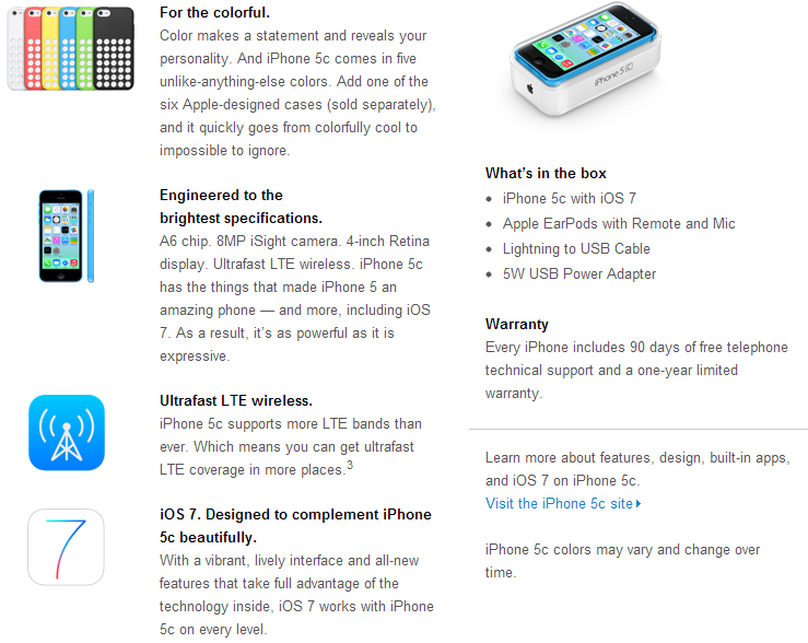 iPhone 5C Specs and Features