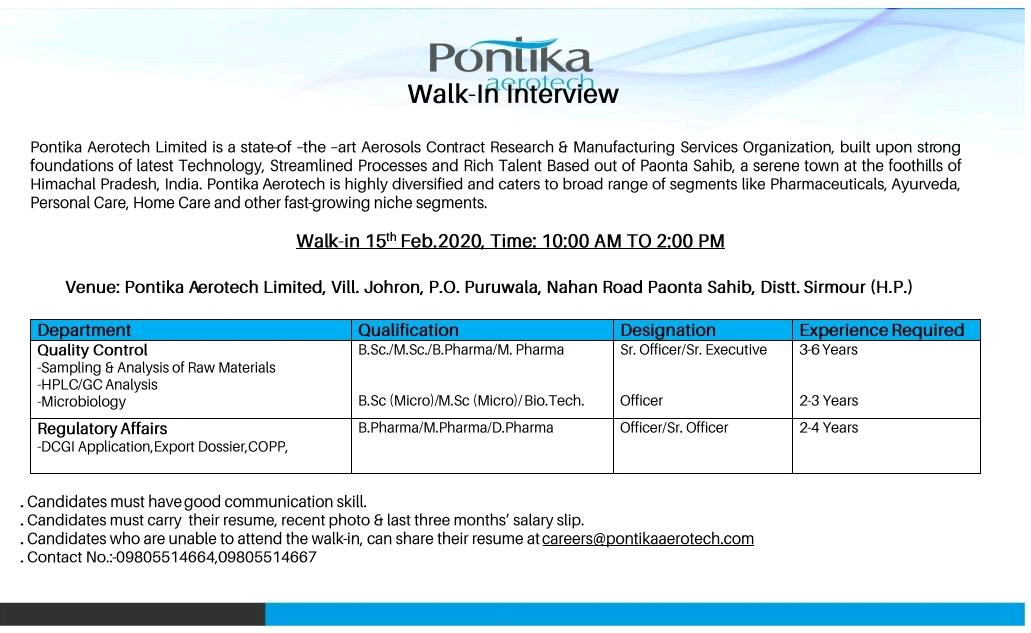 Ponitika Aerotech Limited - Walk-In Interview for Quality Control & Regulatory Affairs on 15th Feb' 2020