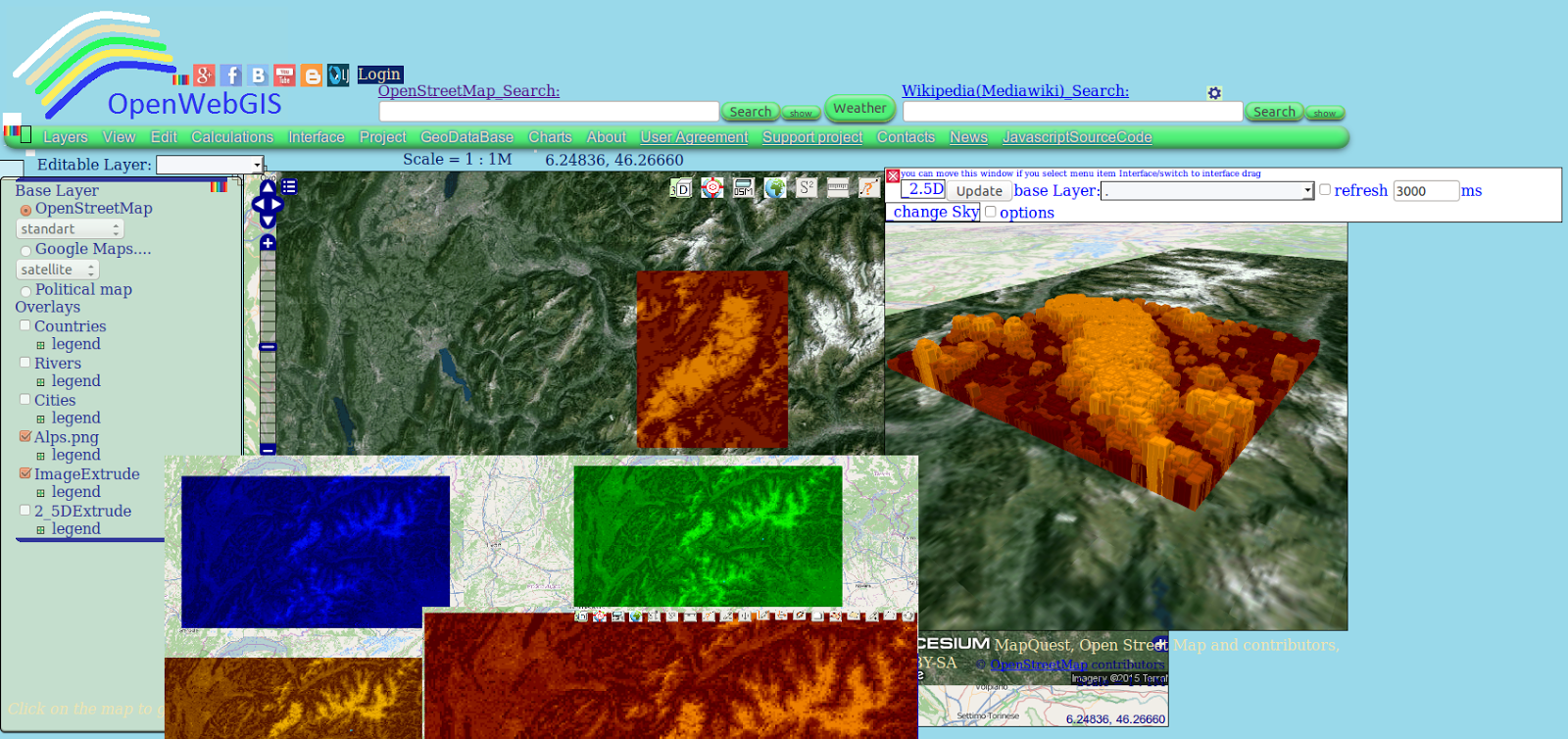 OpenWebGIS is free online GIS  Extrude image to 2D vector  2 5D and     Extrude image to 2D vector  2 5D and 3D layers on the map