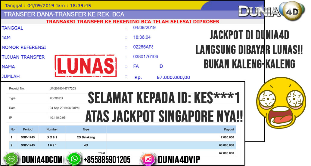 5MENIT CAIR JACKPOT SINGAPORE POOLS 67JUTA!!