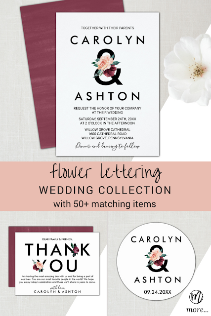 marsala and peach flower lettering ampersand wedding invitations, elegant thank you table card, bride and groom names round wedding favor stickers