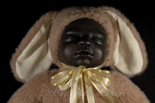 ooak teddy doll sleeping with smile on face