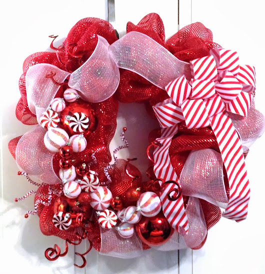 Christmas Holiday Décor Wreath - Deco Mesh - Red, White - Peppermint Candy - Tangled Wreaths™
