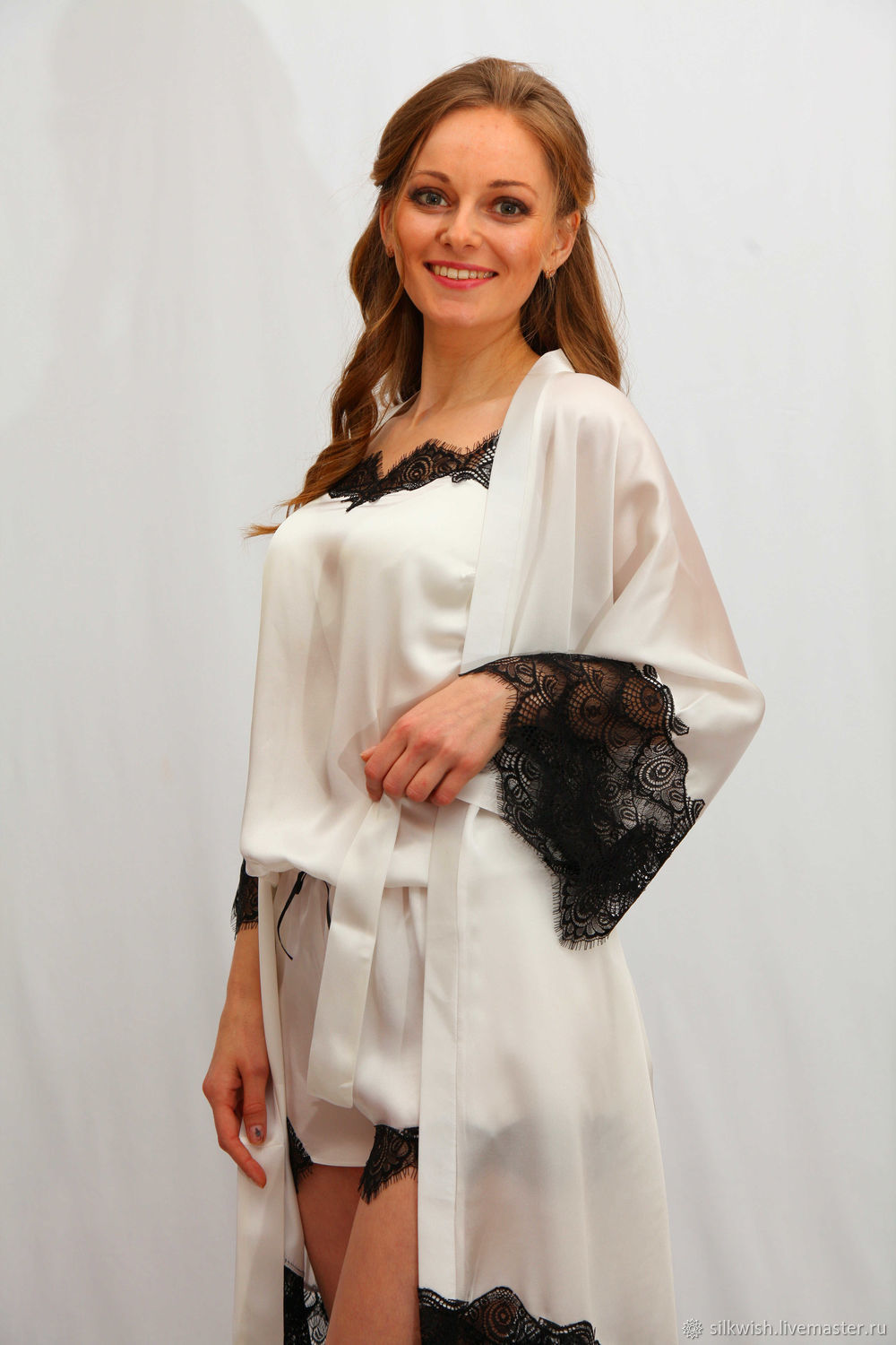 Silk Satin Dress Silk Satin Robe Blouse Dressing Gown-8127