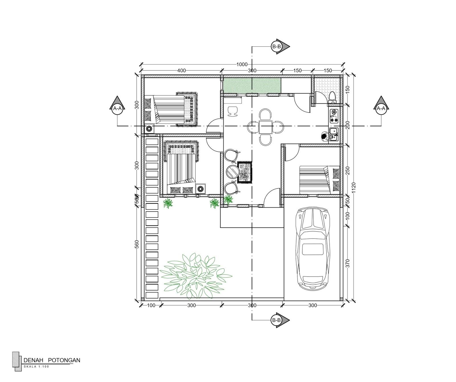 Contoh Gambar Kerja Rumah 1 Lantai Type 36 112 Griya Bagus