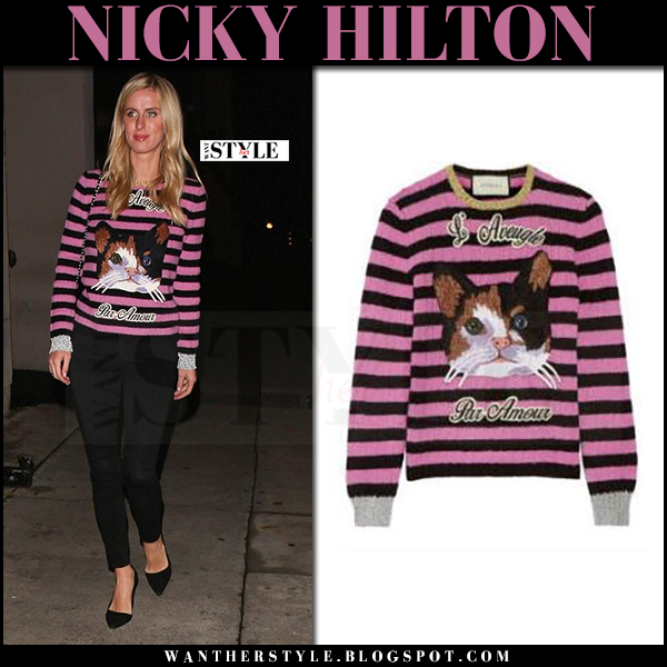 Nicky Hilton in pink striped cat sweater gucci what she wore