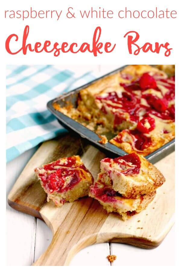 Raspberry and White Chocolate Cheesecake Bars