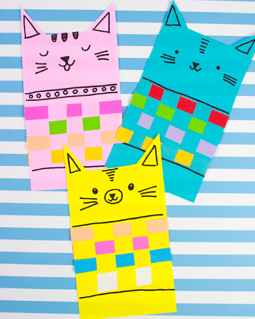 Woven Paper Cats in Sweaters- A Puuurfectly cute kids craft!