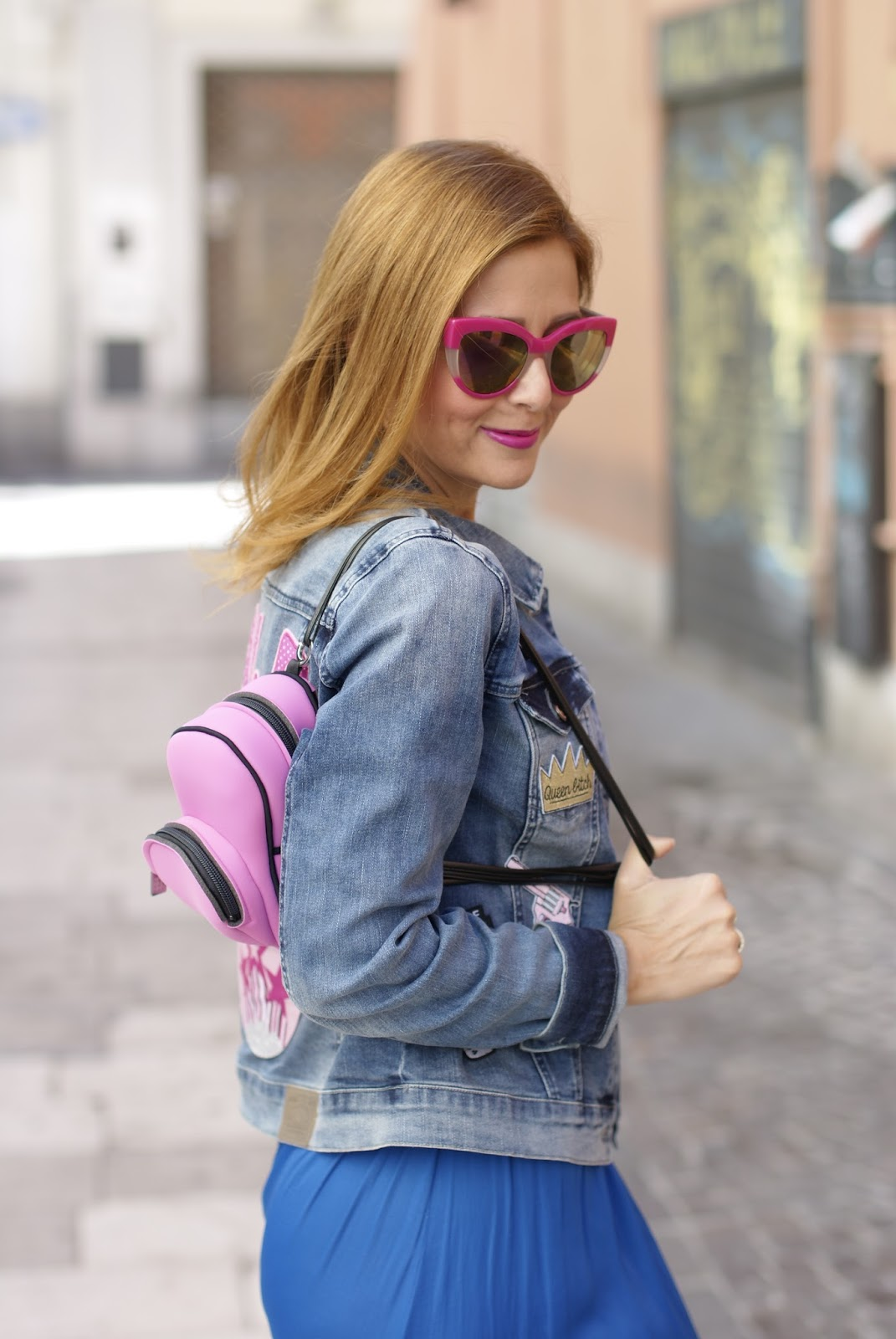 Denim jacket with patches and Save My Bag backpack on Fashion and Cookies fashion blog, fashion blogger style