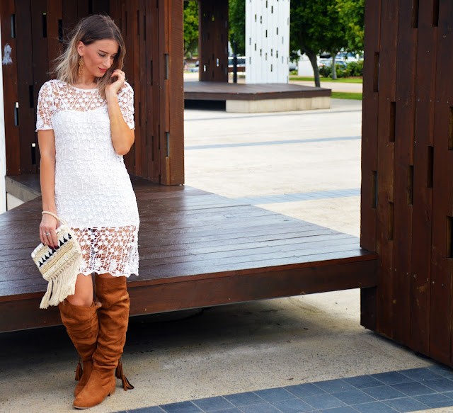 summer dress knee boots