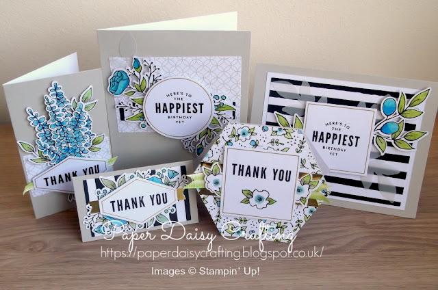 Lots of Happy card kit from Stampin Up in blues