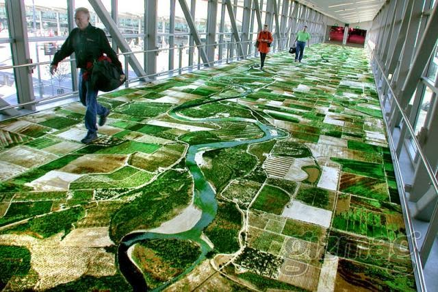 One Of The Cool Public Art Features At Sacramento Airport Is A Rug Woven With Panoramic Aerial View That Lines Pedestrian Bridge