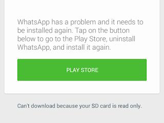 Cara Mengatasi Whatsapp Tidak bisa di Buka Error Sdcard Read Only