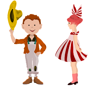Rural life girl with bow clipart