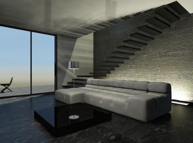 Pavimento in gres porcellanato effetto marmo nero per ambieni contemporanei