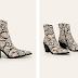 Cizme scurte piele de sarpe cu toc gros de iarna la moda 2019