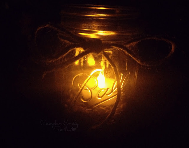 Mason jar candles at night