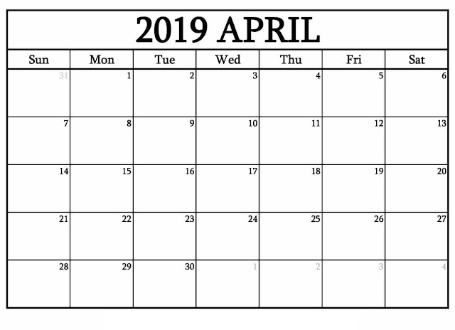 April 2019 Printable Calendar, April 2019 Calendar, April 2019 Calendar Template, Blank April 2019 Calendar, Free April 2019 Calendar, April 2019 Calendar Print, April 2019 Calendar PDF, April 2019 Calendar Holidays, April Calendar 2019