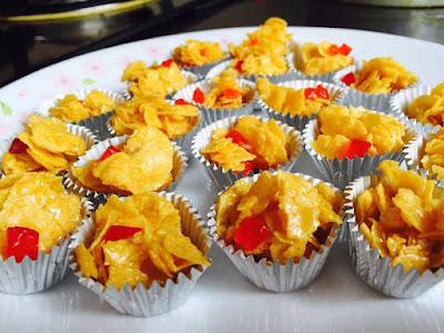Resepi, Kuih Raya, Biskut, Biskut Raya, Cornflakes Madu, Biskut Cornflakes Madu, Raya, Aidilfitri, Bahan, Bahan, Cara - Cara Nak Membuat Cornflakes Madu,