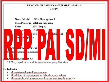 RPP Pendidikan Agama Islam (PAI) untuk SD/MI